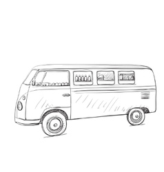 Hand drawn food truck delivery service vector