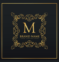 Floral decorative frame border monogram logo for vector