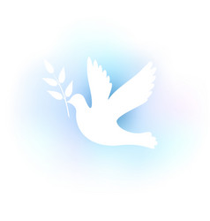 White silhouette of a dove on a blue background vector