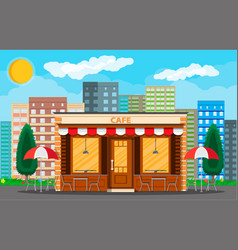 Cafe shop exterior cityscape vector