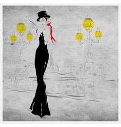 Fashion girl in evening dress vector