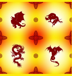 Seamless pattern with dragons and oriental vector