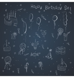 Set of hand-draw things for a birthday celebration vector