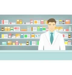 Flat style young pharmacist at pharmacy opposite vector