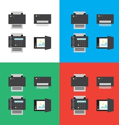 Print scanner fax and shredder flat icons or in vector