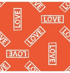 Orange love stamp pattern vector