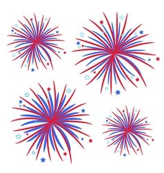 Fireworks isolated star and strip flat design vector