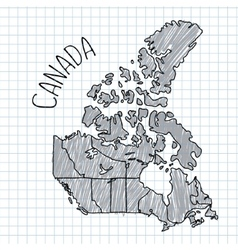 Grey and black pen hand drawn canada map on vector
