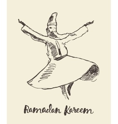 Whirling dervish mevlana sufi hand drawn sketch vector
