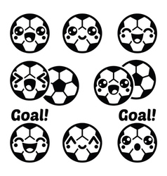 Kawaii football or soccer ball - cute character ic vector