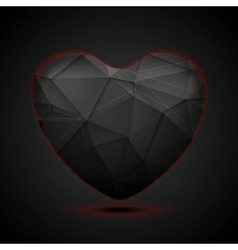 Black polygonal heart background vector