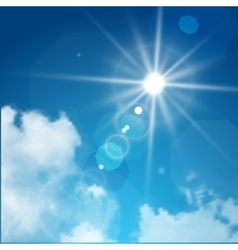 Realistic sun flare with clouds on blue sky vector