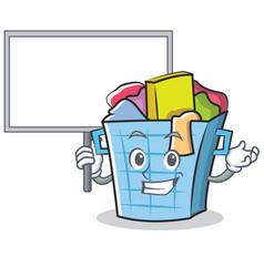 Bring board laundry basket character cartoon vector