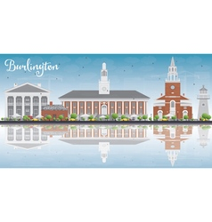 Burlington vermont city skyline with buildings vector