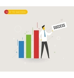 Businessman standing next to a diagram vector image