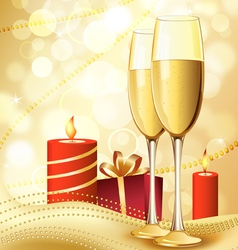 Candle and champagne vector
