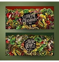 Cartoon doodles new year holidays banners vector