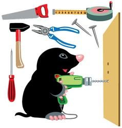 Cartoon mole builder vector