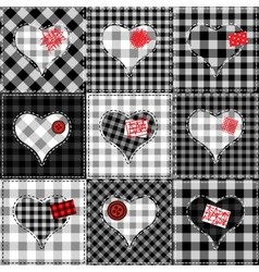 Checkered quilt with hearts vector image vector image