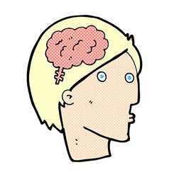 Comic cartoon man with brain symbol vector