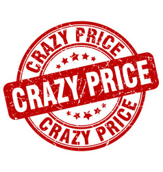 crazy price red grunge stamp vector image