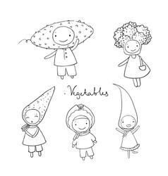 Cute cartoon vegetables vector image vector image
