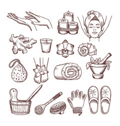 doodle pictures set for relaxing or massage spa vector image