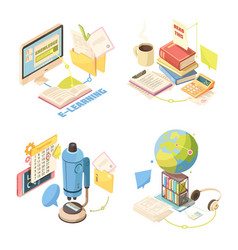 e-learning isometric design concept vector image