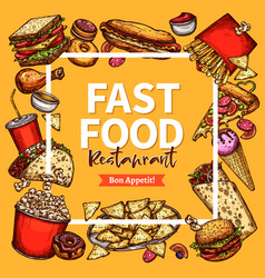 Fast food restaurant poster menu template vector