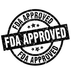 Fda approved round grunge black stamp vector