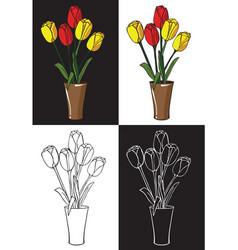 flowers tulips in vase vector image