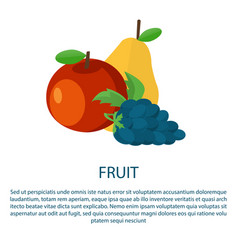 Fruit poster with ripe apple yellow pear and grape vector