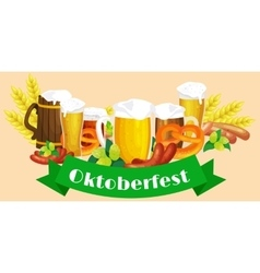 Germany beer festival oktoberfest bavarian beer vector