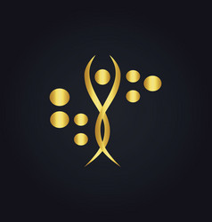 Gold beauty woman body technology abstract logo vector