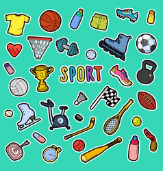 hand drawn sport doodle set vector image