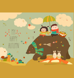 Happy kids with bear and fox in autumn forest vector