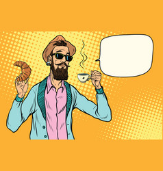 Hipster with coffee and croissant vector