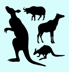 Kangaroo and buffalo farm animal silhouette vector