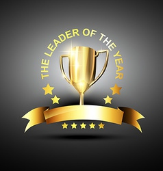 Leader trophy icon vector