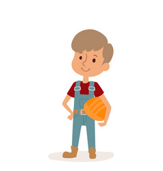 Little cartoon builder boy with tools helmet vector