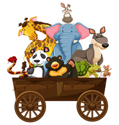 Many wild animals on wooden wagon vector