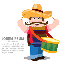 Mexican mariachi in sombrero and with drum vector
