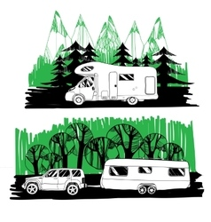 motorhome and with a trailer on forest background vector image vector image