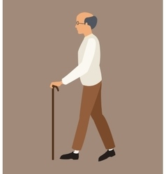 older man white shirt walking stick vector image vector image