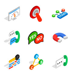 Respond icons set isometric style vector