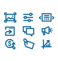 Set of icons on internet marketing and interface vector