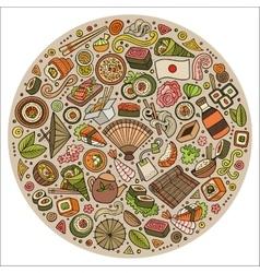 Set of Japan food cartoon doodle objects symbols vector image vector image