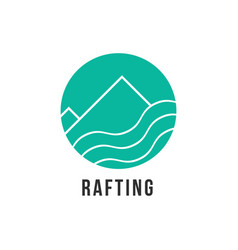 Simple green rafting icon vector
