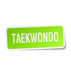 Taekwondo square sticker on white vector