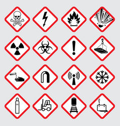 warning hazard pictograms vector image vector image
